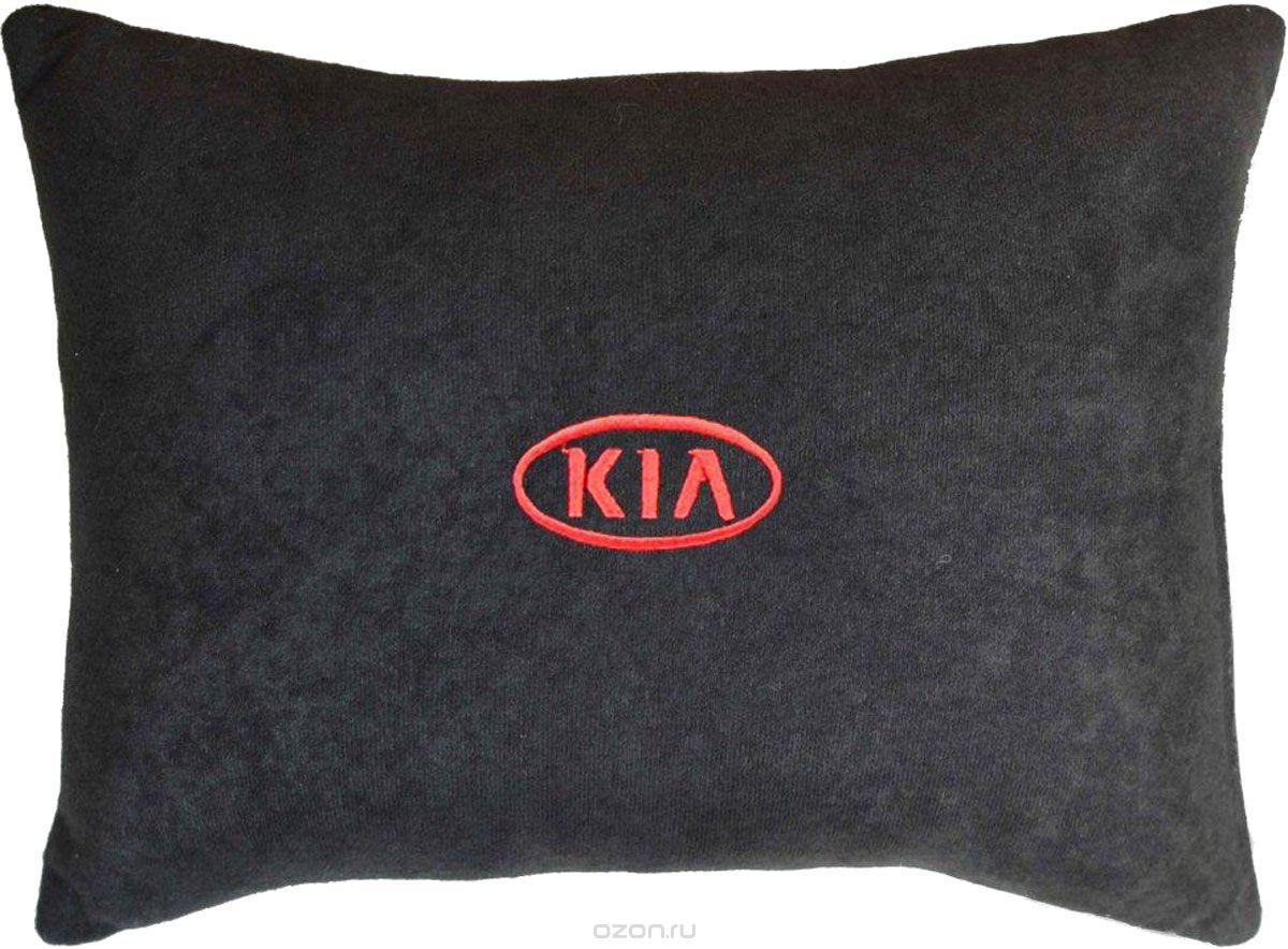 Подушка декоративная из черного велюра KIA