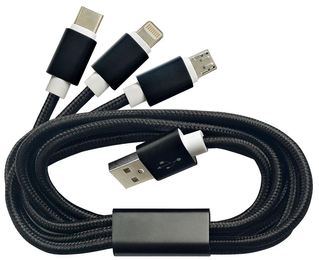 Нейлоновый кабель для зарядки с USB для micro-USB, Samsung A7, Apple Lightning в блистере